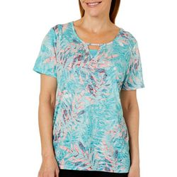 Erika Womens Eva Tropical Palm Print Burnout Top