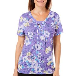 Erika Womens Tropical Floral Lace-Up Top