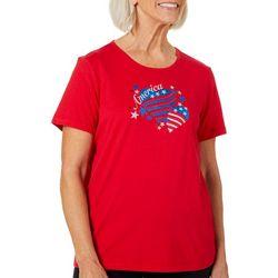Erika Womens Jaden Embellished America Heart T-Shirt
