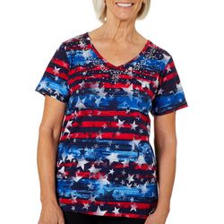 Erika Womens Americana Embellished Star Print V-Neck Top