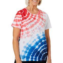 Erika Womens Embellished Fireworks Tie Dye Top