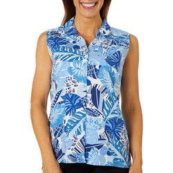 Erika Womens Declan Palm Leaf Printed Sleeveless Top