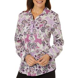 Erika Womens Nora Floral Print Roll Tab Sleeve Top