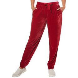 Fashion Ave Knits Womens Velour Jogger Pants