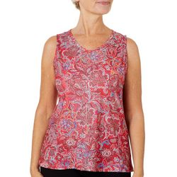 Gloria Vanderbilt Womens Kiera Floral Print Sleeveless Top