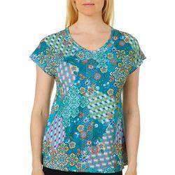 Gloria Vanderbilt Womens Opal Mosaic Quilt Embellished Top