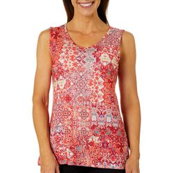 Gloria Vanderbilt Womens Kiera Tile Print Sleeveless Top