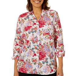 Gloria Vanderbilt Womens Cassidy Floral Button Down Top