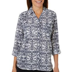 Gloria Vanderbilt Womens Cassidy Scroll Button Down Top