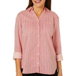 Gloria Vanderbilt Womens Cassidy Striped Button Down Top