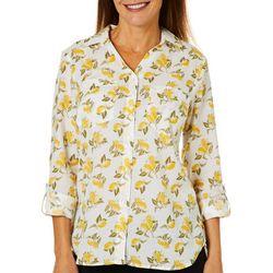 Gloria Vanderbilt Womens Cassidy Lemons Button Down Top