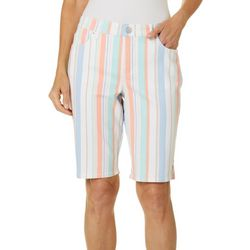 Gloria Vanderbilt Womens Midrise Striped Bermuda Shorts