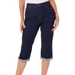 Gloria Vanderbilt Womens Rail Straight Leg Roll Cuff Capris