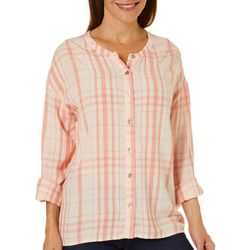 Gloria Vanderbilt Womens Plaid Button Down High-Low Top