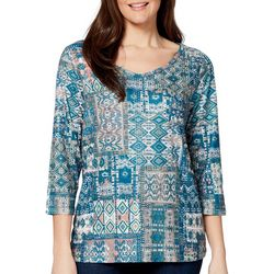 Gloria Vanderbilt Womens Teegan Geometric Print Jeweled Top