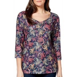 Gloria Vanderbilt wOMANS Teegan Paisley Pizzazz Jeweled Top