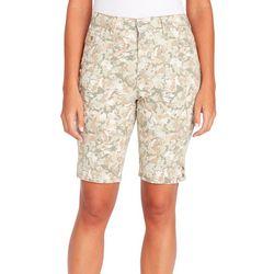 Gloria Vanderbilt Womens Amanda Petal Print Bermuda Shorts