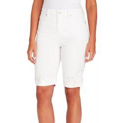 Gloria Vanderbilt Womens Amanda Floral Hem Bermuda Shorts