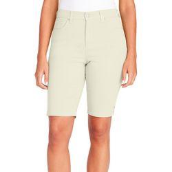 Gloria Vanderbilt Womens Amanda Button Hem Bermuda Shorts