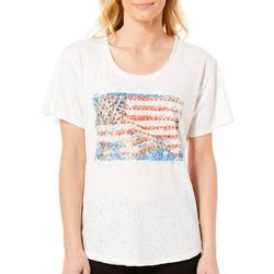 Gloria Vanderbilt Womens Melinda Embellished Flag Top