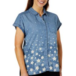 Gloria Vanderbilt Womens Briella Star Print Denim Top