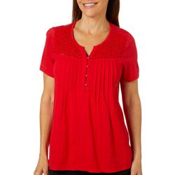 Gloria Vanderbilt Womens Zoey Pintuck Embroidered Top