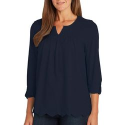 Gloria Vanderbilt Womens Daphne Solid Roll Tab Sleeve Top