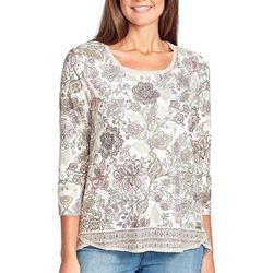Gloria Vanderbilt Womens Laney Floral Embellished Top