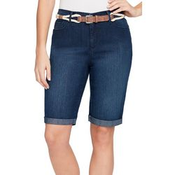 Gloria Vanderbilt Womens Joselyn Belted Denim Bermuda Shorts