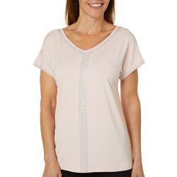 Gloria Vanderbilt Womens Opal Solid Embellished Top