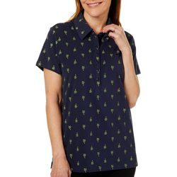 Gloria Vanderbilt Womens Annie Palm Tree Print Polo Shirt