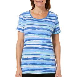 Gloria Vanderbilt Womens Margaret Painted Stripe Top