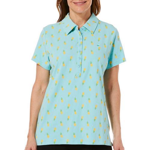 Gloria Vanderbilt Womens Annie Pineapple Print Polo Shirt Bealls