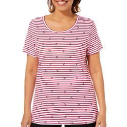 Gloria Vanderbilt Womens Striped Anchor Print Top