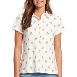 Gloria Vanderbilt Womens Annie Lemons Print Polo Shirt