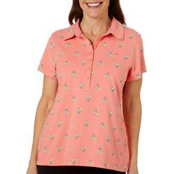 Gloria Vanderbilt Womens Annie Tropical Drinks Polo Shirt