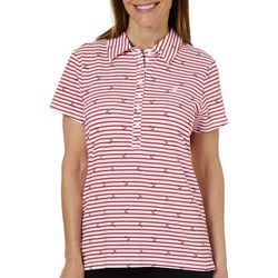 Gloria Vanderbilt Womens Annie Anchor Striped Polo Shirt