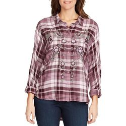 Gloria Vanderbilt Womens Yvette Embroidered Plum Plaid Top