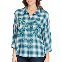 Gloria Vanderbilt Womens Yvette Embroidered Plaid Top