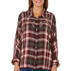 Gloria Vanderbilt Womens Yvette Jeweled Plaid Top