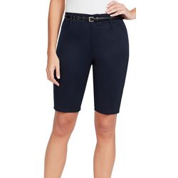 Gloria Vanderbilt Womens Anita Belted Solid Bermuda Shorts
