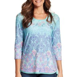 Gloria Vanderbilt Womens Laney Embellished Floral Top