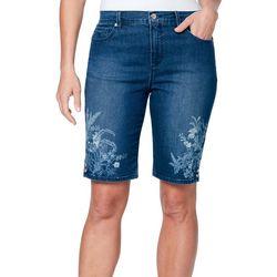 Gloria Vanderbilt Womens Amanda Embellished Bermuda Shorts