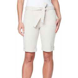Gloria Vanderbilt Womens Solid Belted Bermuda Shorts
