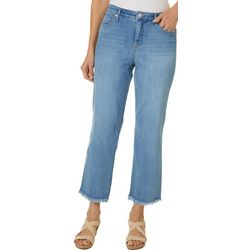 Gloria Vanderbilt Womens Straight Crop Raw Hem Jeans
