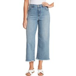 Gloria Vanderbilt Womens Amanda Cropped Wide Raw Hem Jeans