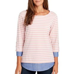 Gloria Vanderbilt Womens Rosanna Striped Chambray Top