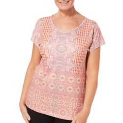 Gloria Vanderbilt Womens Opal Royal Floral Medallion Top