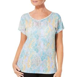 Gloria Vanderbilt Womens Opal Embellished Paisley Top