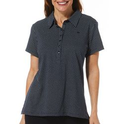 Gloria Vanderbilt Womens Annie Polka Dot Print Polo Shirt